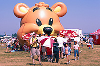 Spectators lining up for Inflatable Amusement - at Abbotsford International Airshow, BC, British Columbia, Canada