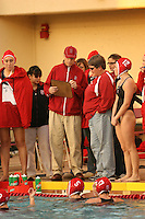 2 February 2007: John Tanner talks with Susan Ortwein during Stanford's 10-6 win over Hawaii at the Avery Aquatic Center in Stanford, CA.