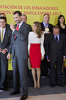 Spain's crown Prince Felipe and Princess Letizia pose with ambassador of the Brand Spain after a ceremony. February 12, 2013. (ALTERPHOTOS/Alvaro Hernandez) /NortePhoto