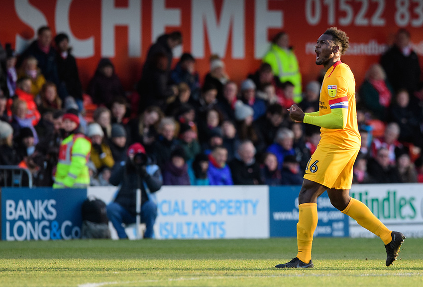 Northampton Town's Aaron Pierre celebrates scoring his side's equalising goal to make the score 1-1<br /> <br /> Photographer Chris Vaughan/CameraSport<br /> <br /> The EFL Sky Bet League Two - Lincoln City v Northampton Town - Saturday 9th February 2019 - Sincil Bank - Lincoln<br /> <br /> World Copyright © 2019 CameraSport. All rights reserved. 43 Linden Ave. Countesthorpe. Leicester. England. LE8 5PG - Tel: +44 (0) 116 277 4147 - admin@camerasport.com - www.camerasport.com