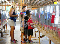 NWA Democrat-Gazette/DAVID GOTTSCHALK  Jessica Grisham (from left) stands with her children Emily, 7, Jakkson (cq), 10, Peyton, 9, and Logan, 5, as they look at the displays inside the Poultry and Rabbits Building Wednesday, September 2, 2015 on the Washington County Fair Grounds in Fayetteville. The Washington County Fair runs through September 5.