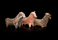 Minoan decorated bull shaped rhython (rhytha) for ritual liquid offerings, Phaistos 1800-1650 BC; Heraklion Archaeological  Museum, black background.