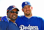 15 March 2008: Los Angeles Dodgers' pitcher Brad Penny (right) smiles with Washington Nationals' hitting coach Lenny Harris (left) prior to a Spring Training game at Space Coast Stadium, in Viera, Florida...Mandatory Photo Credit: Ed Wolfstein Photo