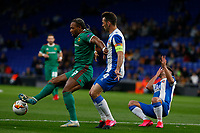 27th February 2020; RCDE Stadium, Barcelona, Catalonia, Spain; UEFA Europa League Football, Real Club Deportiu Espanyol de Barcelona versus Wolverhampton Wanderers;  Adama Traore plays the ball away challenged by Victor Sanchez as Oscar Melendo goes down in injured by an elbow to the face