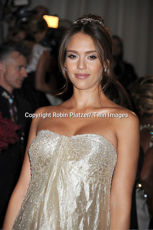 """Jessica Alba arriving at The Costume Institute Gala Benefit celebriting """"Alexander McQueen: Savage Beauty"""" at The Metropolitan Museum of Art in New York City on May 2, 2011."""