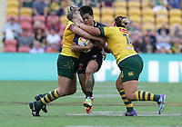 New Zealand's Kimiora Nati is tackled by Australia's Renae Kunst, left, and Elianna Walton, right, during the women's Rugby League World Cup final between Australia and New Zealand, Suncorp Stadium, Brisbane, Australia, 2 December 2017. Copyright Image: Tertius Pickard / www.photosport.nz MANDATORY CREDIT/BYLINE : Tertius Pickard/SWpix.com/PhotosportNZ