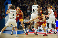 Real Madrid´s Marcus Slaughter and Sergio Rodriguez and Galatasaray´s Arslan during 2014-15 Euroleague Basketball match between Real Madrid and Galatasaray at Palacio de los Deportes stadium in Madrid, Spain. January 08, 2015. (ALTERPHOTOS/Luis Fernandez) /NortePhoto /NortePhoto.com