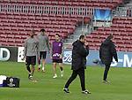 Camp Nou , UEFA Champions League, rueda de prensa previa al partido FC Barcelona - ARsenal FC. En la foto Pep Guardila dirige el entrenamiento