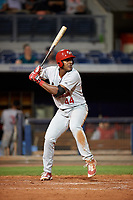 Palm Beach Cardinals designated hitter Austin Wilson (44) at bat during a game against the Charlotte Stone Crabs on April 11, 2017 at Charlotte Sports Park in Port Charlotte, Florida.  Palm Beach defeated Charlotte 12-6.  (Mike Janes/Four Seam Images)