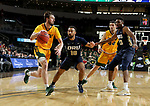 SIOUX FALLS, SD - MARCH 8: Jared Samuelson #11 of the North Dakota State Bison drives with the ball past Sam Kearns #10 of the Oral Roberts Golden Eagles at the 2020 Summit League Basketball Championship in Sioux Falls, SD. (Photo by Dave Eggen/Inertia)