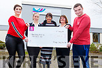 Fiona Hyde from the Killorglin Charity Fashion show fundraiser presents a cheque for €3000 to the National Learning Network in Clash Tralee on Friday. L to r: Fiona Hyde, Noelle O'Sullivan, Fiona Keogh and Mary Behan of the National Learning Network and Dylan Hyde at the centre in Tralee on Friday.