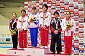 (L to R) Natsumi Sasada (JPN), Kenya Kobayashi (JPN), Rie Tanaka (JPN), Kohei Uchimura (JPN), Shogo Nonomura (JPN), Yumi Iizuka (JPN),.APRIL 8, 2012 - Artistic gymnastics : The 66nd All Japan Gymnastics Championship Individual All-Around , Individual 2nd day at 1nd Yoyogi Gymnasium, Tokyo, Japan. (Photo by Jun Tsukida/AFLO SPORT) [0003].