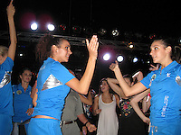 September 13, 2009; Mie, Japan;  (L-R) Elisa Santoni, Giulia Galtarossa, group rhythmic gymnasts from Italy dance at banquet after 2009 World Championships Mie. Photo by Tom Theobald. .