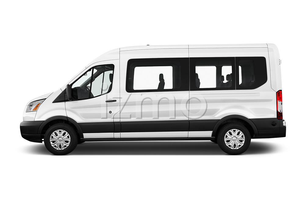 Car driver side profile view of a 2019 Ford Transit Wagon 350 XLT Wagon Med Roof Sliding Pass. 148 5 Door Passenger Van