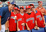 15 August 2008: Washington Nationals' infielder Pete Orr poses with members of the Canadian Ripkin Baseball team invited watch the Nationals host the Colorado Rockies at Nationals Park in Washington, DC. Orr, himself a Canadian, signed autographs for the kids prior to their participation in the Ripkin World Series, at Aberdeen, MD. The Rockies edged out the Nationals 4-3, handing the last place Nationals their 8th consecutive loss. ..Mandatory Photo Credit: Ed Wolfstein Photo