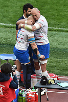 Sergio Parisse hugs his team mate Leonardo Ghiraldini Injured <br /> Roma 16-03-2019 Stadio Olimpico<br /> Rugby Six Nations tournament 2019  <br /> Italy - France <br /> Foto Andrea Staccioli / Insidefoto