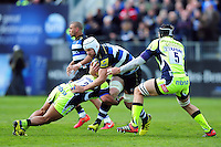 Dave Attwood of Bath Rugby takes on the Sale Sharks defence. Aviva Premiership match, between Bath Rugby and Sale Sharks on April 23, 2016 at the Recreation Ground in Bath, England. Photo by: Patrick Khachfe / Onside Images