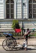 A hand pulled rickshaw wallah pulls his rickshaw past the Indian Museum in New Market Area, Dharmatala, Kolkata, West Bengal on Thursday, May 25, 2017. Photographer: Sanjit Das