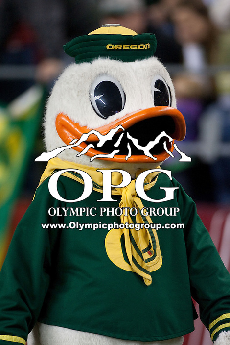 Sep  30, 2012:  Oregon's Mascot entertained the crowed against Washington State.  Oregon defeated Washington State 51-26 at Century Link Stadium in Seattle, Washington...