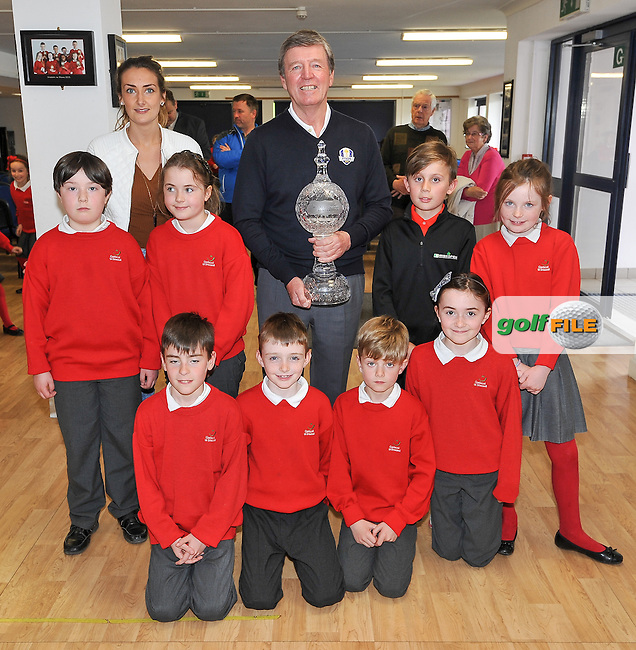11.05.2016<br /> Golfer Des Smyth with Sean Reddy and some of his class-mates, during the visit of the Dubai Duty Free Irish Open Golf trophy to Gaelscoil Ui Drisceoil in Glanmire, Co Cork. Also included is Sean's teacher Enya Ni Shithigh.<br /> Picture: Golffile | David Keane<br /> <br /> All photo usage must carry mandatory copyright credit (&copy; Golffile | David Keane)