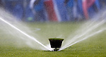 Pop up sprinkler keeping the Ibrox grass looking green and lush