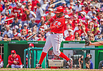 14 April 2013: Washington Nationals outfielder Denard Span in action against the Atlanta Braves at Nationals Park in Washington, DC. The Braves shut out the Nationals 9-0 to sweep their 3-game series. Mandatory Credit: Ed Wolfstein Photo *** RAW (NEF) Image File Available ***