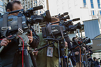 TV camera crews line up to film Kenji Eda of the Japan Innovation party electioneering in Yokohama, Kanagawa, Japan Tuesday December 2nd 2014 Tuesday marked the first day of the general election campaign after Prime Minister Shinzo Abe called a snap election which will take place on December 14th