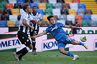 Paulo Dybala of Juventus and William Ekong of Udinese<br /> during the Serie A football match between Udinese Calcio and Juventus FC at Friuli stadium in Udine <br />  (Italy), July 23th, 2020. Play resumes behind closed doors following the outbreak of the coronavirus disease. Photo Federico Tardito / Insidefoto