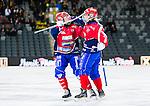 Stockholm 2015-03-13 Bandy SM-final herrar Sandvikens AIK - V&auml;ster&aring;s SK :  <br /> Karebys Linnea Gunnarsson firar sitt 2-0 m&aring;l med Sophia Adolfsson under matchen mellan Sandvikens AIK och V&auml;ster&aring;s SK <br /> (Foto: Kenta J&ouml;nsson)<br /> Nyckelord:  SM SM-final final Bandyfinal Bandyfinalen Dam Damer Dambandy AIK Kareby IS jubel gl&auml;dje lycka glad happy