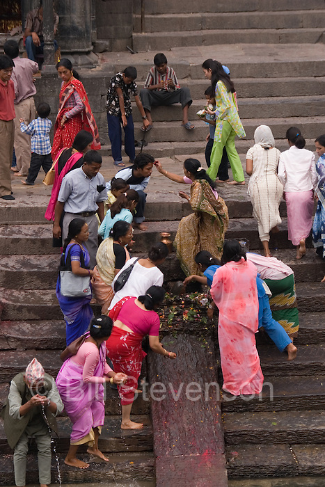 A Hindu funeral ceremony at a temple in Kathmandu Nepal.