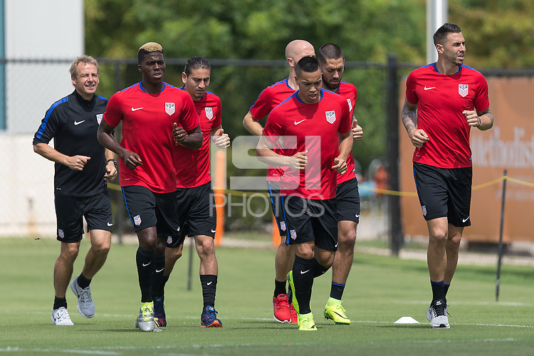 Houston, TX - June 18, 2016: The USMNT train in preparation for their 2016 Copa America Centenario Semifinal match at Houston Sports Park Dynamo Field.