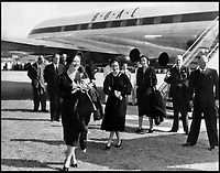 BNPS.co.uk (01202 558833)<br /> Pic: QueensFlightArchive<br /> <br /> The Queen Mother leads a young Princess Elizabeth off a BOAC Comet during a 1949 Royal tour.<br /> <br /> A new book gives an intimate look behind the scenes of the Royal Flight and also the flying Royals.<br /> <br /> Starting in 1917 the book charts in pictures the 100 year evolution of first the King's Flight and then later the Queen's Flight as well as the Royal families passion for aviation.<br /> <br /> Author Keith Wilson has had unprecedented access to the Queen's Flight Archives to provide a fascinating insight into both Royal and aeronautical history.