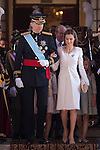 King Felipe VI of Spain and Queen Letizia of Spain leave Congreso de los Diputados after the celebration of the coronation ceremony in Madrid, Spain. Kin Juan I of Spain abdicated on his son Felipe at the beginning of June. June 19, 2013. (ALTERPHOTOS/Victor Blanco)
