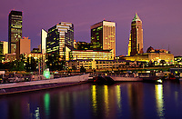 Cleveland, skyline, OH, Ohio, Downtown skyline of Cleveland, USS Cod Submarine Museum, Lake Erie, evening