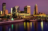Cleveland, skyline, OH, Ohio, Downtown skyline of Cleveland, USS Cod Submarine Museum, Lake Erie, evening