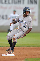 Right Fielder Wynton Bernard #36 of the West Michigan Whitecaps rounds second base against the Clinton LumberKings at Ashford University Field on July  25, 2014 in Clinton, Iowa. The Whitecaps won 9-0.   (Dennis Hubbard/Four Seam Images)