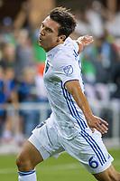 SAN JOSÉ CA - JULY 27: Shea Salinas #6 celebrates his goal during a Major League Soccer (MLS) match between the San Jose Earthquakes and the Colorado Rapids on July 27, 2019 at Avaya Stadium in San José, California.