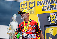 Sep 18, 2016; Concord, NC, USA; NHRA pro stock motorcycle rider Chip Ellis celebrates after winning the Carolina Nationals at zMax Dragway. Mandatory Credit: Mark J. Rebilas-USA TODAY Sports