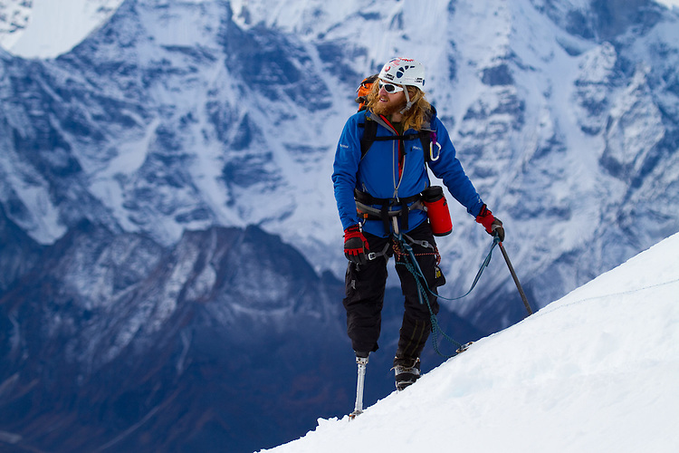 Chad Jukes high on Lobuche at about 19,000 feet. Photo by Didrik Johnck.