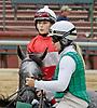 Eye Be Blinkin  with Hana Jurankova before The International Ladies Fegentri  group at Delaware Park racetrack on 6/9/14