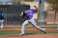 Colorado Rockies relief pitcher Breiling Eusebio (43) delivers a pitch to the plate during an Extended Spring Training game against the San Diego Padres at Peoria Sports Complex on March 30, 2018 in Peoria, Arizona. (Zachary Lucy/Four Seam Images)