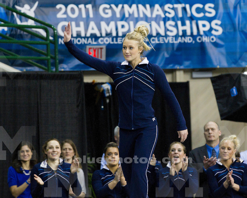 Michigan women's gymnastics competes in the NCAA Championship Super Six at the Wolstein Center in Cleveland, Ohio on April 16, 2011.