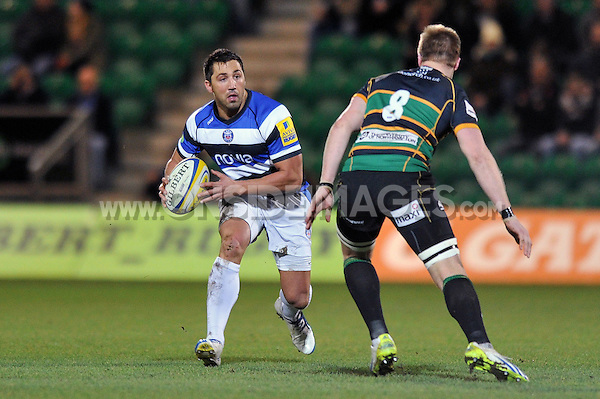 Gavin Henson in possession. Aviva A-League final, between Northampton Wanderers and Bath United on December 16, 2013 at Franklin's Gardens in Northampton, England. Photo by: Patrick Khachfe / Onside Images