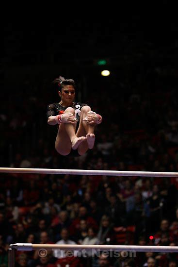 Trent Nelson  |  The Salt Lake Tribune.Utah's Nansy Daminova competes on the bars. Utah vs. Stanford college gymnastics Friday, January 28, 2011.