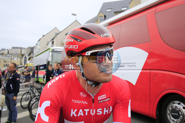Alexander Kristoff (NOR) Katusha at the team bus before the start of Stage 3 of the 2016 Tour de France, running 223.5km from Granville to Angers, France . 4th July 2016.<br /> Picture: Eoin Clarke | Newsfile<br /> <br /> <br /> All photos usage must carry mandatory copyright credit (&copy; Newsfile | Eoin Clarke)