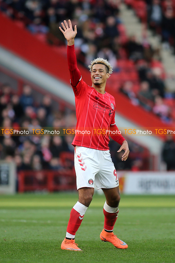 Lyle Taylor, scorer of Charlton's opening goal waves at the Barnsley fans during Charlton Athletic vs Barnsley, Sky Bet EFL Championship Football at The Valley on 1st February 2020