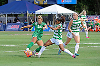 8 November 2015:  Marshall Forward Katie Suchodolski (23) attempts to kick to the goal while North Texas Defender Chelsei Soto (18) defends (also pictured, North Texas Midfield Jackie Moreau (5)) in the first half as the University of North Texas Mean Green defeated the Marshall University Thundering Herd, 1-0, in the Conference USA championship game at University Park Stadium in Miami, Florida.
