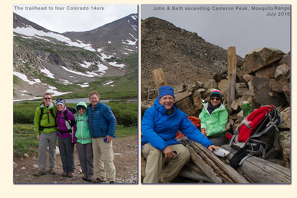 A family peak climb begins below Mount Democrat (14,154 feet = 4,314 meters). Even in summer, we prepare for a bit of snow and cold.<br /> Colorado has 53 mountains over 14,000 feet above sea level. They're called fourteeners or 14ers.  Mosquito Range, Colorado, USA.