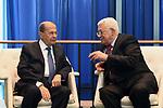 Palestinian President Mahmoud Abbas meets with Lebanese President Michel Aoun in New York City, U.S. on September 19, 2017. Photo by Osama Falah