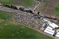 Pictured: Aerial view of the camp and the closed off railway track in Idomeni Thursday 03 March 2016<br />